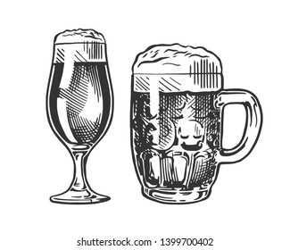 Mug and glass of beer isolated on white background,  hand drawing. Vector vintage engraved illustration.