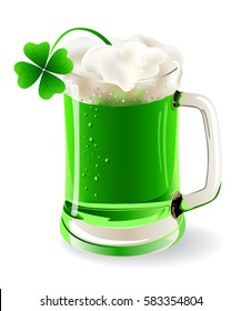 a mug of green beer for St.Patrick's day