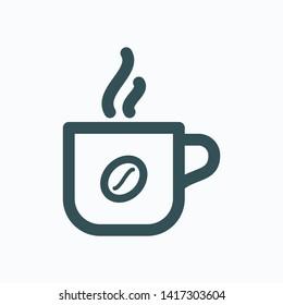 Mug of hot coffee isolated icon, coffee mug with steam linear vector icon
