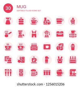 mug icon set. Collection of 30 filled mug icons included Pitcher, Beer keg, Tea, Beers, Cup, Cezve, Beer, Lederhosen, Coffee maker, Coffee, Coffee cup, Coffee beans, Breakfast