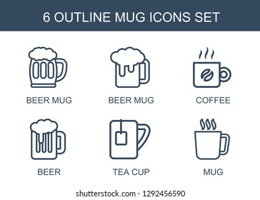 mug icons. Trendy 6 mug icons. Contain icons such as beer mug, coffee, beer, tea cup. icon for web and mobile.