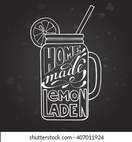 mug of lemonade with ice and a slice of lemon and a straw, a sketch of lemonade in the glass on the chalk Board, hand drawing vector illustration, black and white