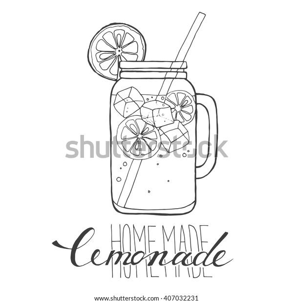 Mug Lemonade Ice Slice Lemon Straw Stock Vector (Royalty