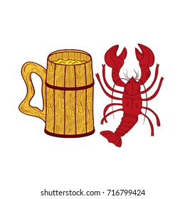 A mug made of wood with beer. Cancer of the river. Set. Sketch. Color illustration on white background
