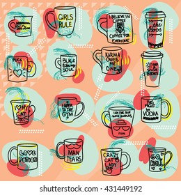 Mug with text set colorful large collection of hand drawn coffee and tea doodles: cups thermos mugs with quotes isolated on orange colored background. Lineart vector illustration.