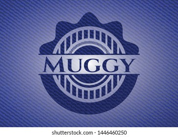 Muggy badge with denim background. Vector Illustration. Detailed.