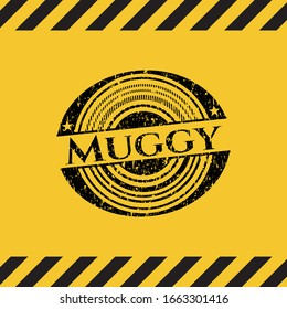 Muggy black grunge emblem inside yellow warning sign. Vector Illustration. Detailed.