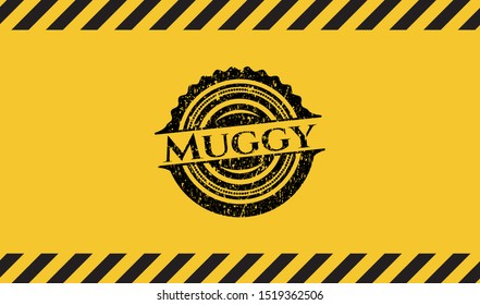 Muggy black grunge emblem, yellow warning sign. Vector Illustration. Detailed.