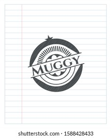 Muggy emblem draw with pencil effect. Vector Illustration. Detailed.