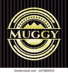Muggy gold shiny badge. Vector Illustration. Detailed.