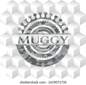 Muggy grey emblem with geometric cube white background