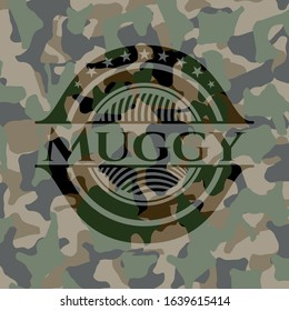 Muggy on camo pattern. Vector Illustration. Detailed.