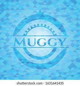 Muggy realistic sky blue emblem. Mosaic background