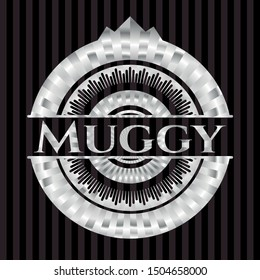 Muggy silver badge. Vector Illustration. Mosaic.