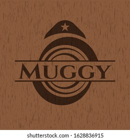 Muggy wood emblem. Vector Illustration.