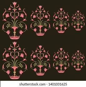 mughal floral  pattern motif pattern on brown