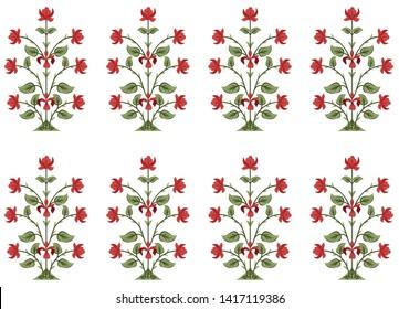 mughal floral  pattern motif pattern on white