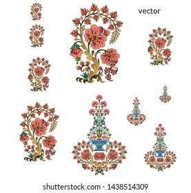 mughal  flower  motif bunch  design white background