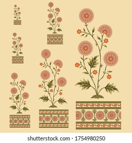 mughal flower motif bunch design