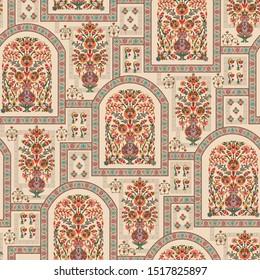 mughal flower motif bunch pattern design