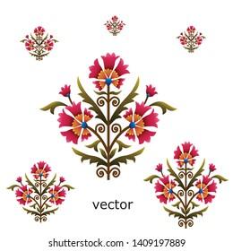 mughal flower motif bunch white ground