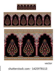 Mughal motif colorful border black background pattern