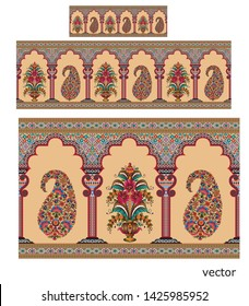 Mughal motif colorful border cream background pattern