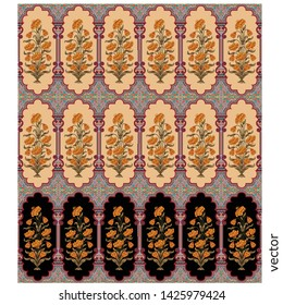 Mughal motif colorful cream black background pattern
