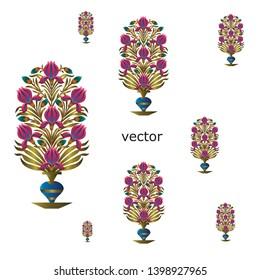 Mughal motif flower bunch design