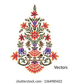 mughal paisley flower motif bunch border