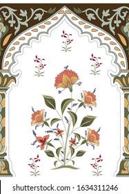 mughal paisley pattern on white background