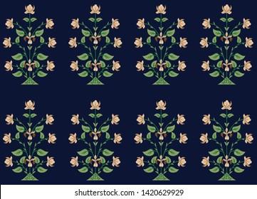 mughal pattern floral motif pattern on navy