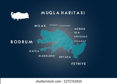 Mugla districts Bodrum, Dalaman, Datca, Fethiye, Kavaklidere, Koycegiz, Marmaris, Milas, Ortaca, Ula, Yatagan map, Turkey