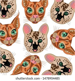 Mugs cat serval and caracal decorative pattern