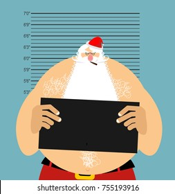 Mugshot Santa in police. Bad Claus criminal. Naughty Santa with cigar. crime Christmas. suspect new year