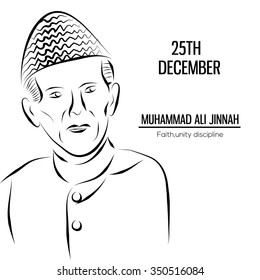 Muhammad Ali Jinnah (founder of pakistan) birthday celebration background.vector