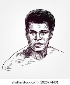 muhammad ali vector sketch illustration