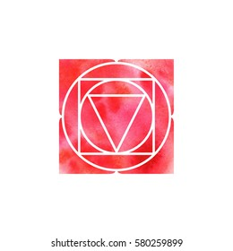 Muladhara chakra. Sacred Geometry. One of the energy centers in the human body. The object for design intended for yoga. Vector illustration.