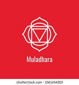 Muladhara chakra symbol. The first red sign. Yoga icon