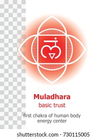 Muladhara. Chakra vector isolated minimalistic icon with transparency - for yoga studio, banner, poster, symbol used in Hinduism, Buddhism and Ayurveda. Editable concept.