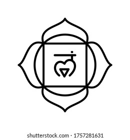 Muladhara icon. The first root chakra. Vector black line symbol. Sacral sign. Meditation