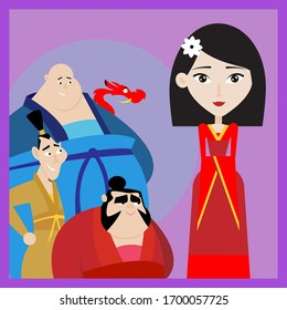 Mulan and her friends vector