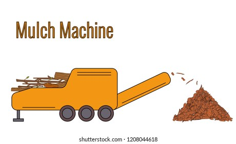 Mulcha Machine used for processing the wood waste for producing mulcha. Color vector illustration. Icon.