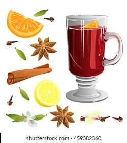 Mulled hot wine with set of ingredients (cinnamon sticks, star anise, orange, cloves, cardamom, lemon). Vector illustration.