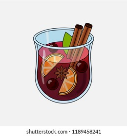 Mulled wine. Autumn drink. Christmas holiday alcoholic cocktail. Vector EPS10 . Colorful realistic hand drawn illustration glintwein. Anise star, cinnamon sticks, orange, wine and cloves.