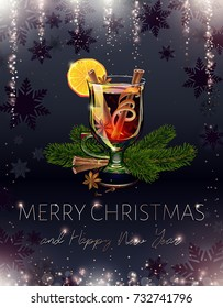 Mulled wine. Black Merry Christmas and happy new year postcard. Holiday alcoholic cocktail. Realistic illustration. Xmas banner. Falling sequins and sparkle. Sparkly rain. Proportional to A6. Vector.