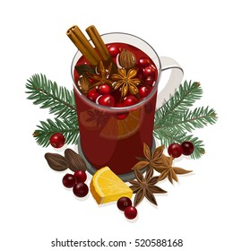 Mulled Wine. Decorative vector illustration for your design. Glass cup with hot wine, orange, cranberry, cinnamon, star anise, cardamom, nutmeg and fir bunch on white background.