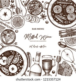 Mulled Wine Design. Merry Christmas Menu template. Vector frame with hand drawn hot drinks, spices, herbs, fruits. Beverages, food and ingredients drawings. Top View illustration.