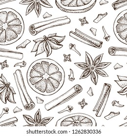 Mulled wine ingredient seamless pattern. Orange, Cinnamon sticks, anise star and cloves. Vector of aromatic spices set. Doodle of spice and flavor. Xmas winter drink