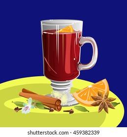 Mulled wine and ingredients (cinnamon, anise, orange, cloves, cardamom). Vector illustration.